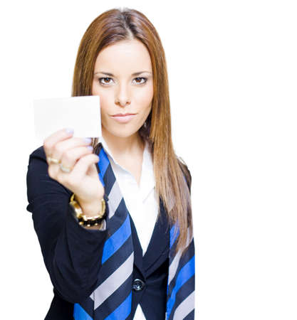 Confident Determined And Ambitious Sales Woman Holding Up A Business Card With Copyspace In A Promotion Advertisement And Marketing Conceptual, White Background Stock Photo - 13126386