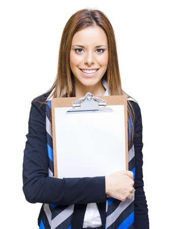 Beautiful Business Woman With Smile Holding Clipboard Or Empty Blank Board With Text Copyspace You Can Write On, Isolated Studio Portrait On White Background  Stock Photo - 13126438