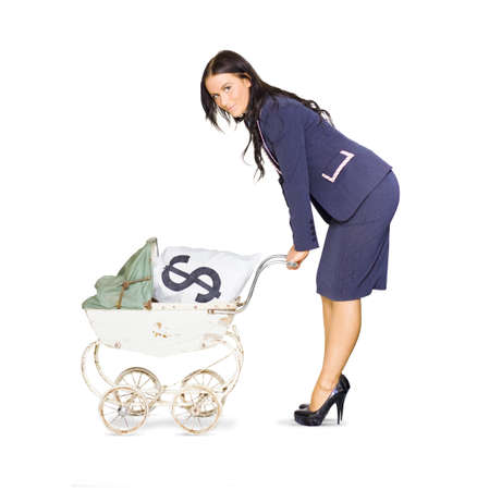 Business And Finance Woman Pushing Baby Pram Holding A Bag Of Cash In A Financial Nurturing, Stock Market Investment And Money Growth Concept, Isolated On White Stock Photo - 13149640