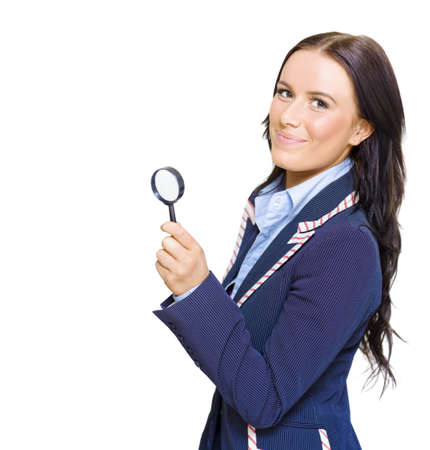 Happy Young Beautiful Brunette Business Woman Smiling While Holding Looking Glass During A Fact And Information Finding Discovery To Business Success Stock Photo - 13149245