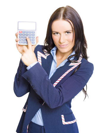 Isolated Portrait Of A Gorgeous Young Female Business Accountant Holding An Accounting Calculator With Room For Text On Number Display On White Background photo