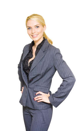 Studio Portrait Of A Happy Confident And Smiling Business Woman Standing With Hands To Hips Wearing Corporate Attire In A Successful Businesswoman Concept Stock Photo - 13149618