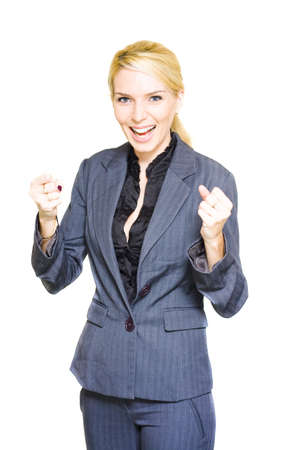 Energetic Enthusiastic Career Driven Worker Pumps Her Fists With Excitement And Joy After A Corporate Win In A Excited Business Woman Concept, Isolated On White Stock Photo - 13149563