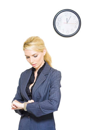 A Clock Ticks In A Studio Portrait Of A Business Woman Looking At The Passing Hours And Minutes On Her Watch In Routine Corporate Time Schedule Conceptual Stock Photo - 13149234