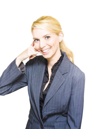 Friendly Smiling Call Center Business Woman Makes A Phone Or Telephone Call On A Hand Phone In A Customer Service Communication Isolated On A White Background photo