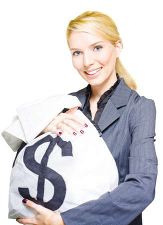 Rich Wealthy And Successful Business Woman Holds A Large Dollar Bag Of Cash And Coins In A Financial Planning Wealth And Money Conceptual, Isolated On White photo