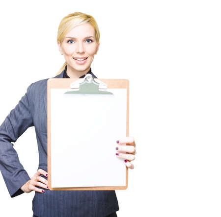 Female Business Entrepreneur Holding Empty Sign Or Stationary Clipboard With Blank Sheet Of Paper In A Copyspace Business Check List Concept, White Background Stock Photo - 13149623