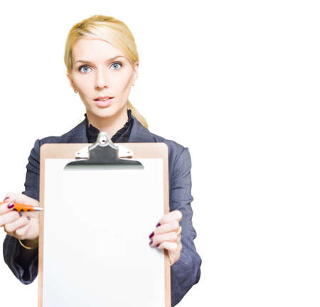 Corporate Promotion And Marketing Conceptual Sees A Adorable Blond Hair Business Woman Holding A Info Inventory Or Memo List Notepad In A Empty Clip Board Image Stock Photo - 13149605