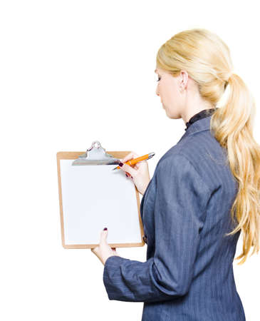 Professional Corporation Executive Writes On A Blank Clipboard With Pen While Evaluating Examining And Developing A Growth Strategy In Develop Business Plan photo