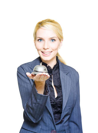 Isolated Studio Photo Of A Confident Hotel Concierge Worker Holding Shiny Desk Service Bell In Announcement And Message Of Help Guidance Support And Assistance photo