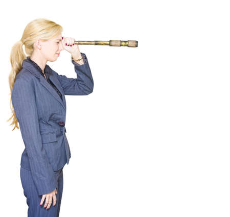 Side On Profile Of A Professional Business Woman Searching The Distant Horizon With A Telescope In A Hunt For Direction Growth Vision And Future Business Stock Photo - 13149619