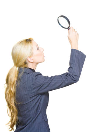 Professional Business Person Is Surprised And Shocked When Searching Spying And Investigating New Business Leads With A Magnifying Glass Or Spyglass, On White Stock Photo - 13149620