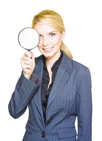 Business Audit And Competitor Or Competition Analysis Concept See A Business Woman Holding A Spy Glass Or Magnifying Glass In A Search Mission Of Discovery Stock Photo - 13149235