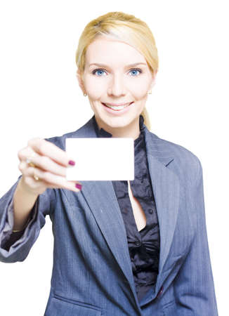 Isolated Studio Portrait Of A Gorgeous Woman Holding A Blank Business Card With Copy Space Or Room For Text In A Notecard Placard And Presentation Concept Stock Photo - 13149247