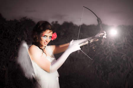 Cupid The Archer Of Romance Draws Back On Her Long Bow And Glowing Rose Arrow Aiming To Hit A Love Less Soul And Ignite A Desire That Will Last Forever photo