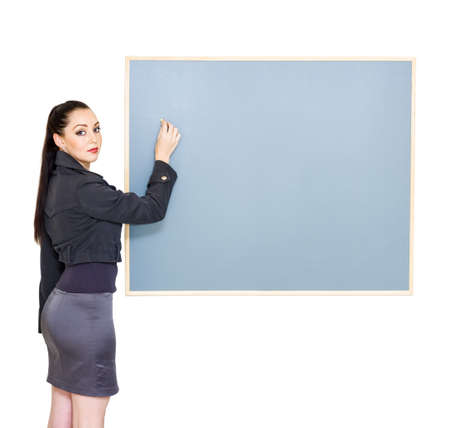 Isolated Studio Photo Of A Business Woman Drawing Up Business Plan During Business Presentation Or Meeting In A Strategy And Tactical Concept photo