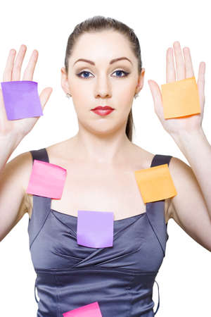 Isolated Pic Of A Young Pretty Female Office Secretary Or Receptionist Holding A Place Your Copyspace Message Here On Sticky Note In A Time Management Concept Stock Photo - 13262015