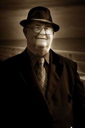 Sepia Portrait Of A Smiling Senior Man Wearing Shirt Tie Stock Photo - 14632325