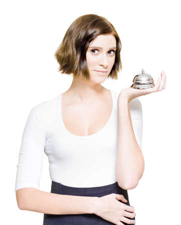 Female Business Woman Over White Holding A Silver Service Desk Bell In A Representation Of Good Old Fashioned Customer Service And Business Personal Relations Stock Photo - 13360021
