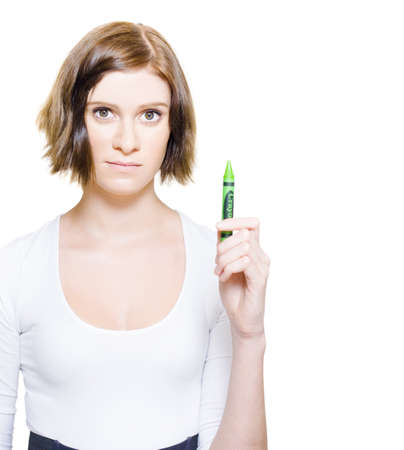Woman Holding Green Crayon With Text Space On Right, For You To Write Your Green Message Or Note On The Copyspace Wall, Isolated On White Background Stock Photo - 13360071