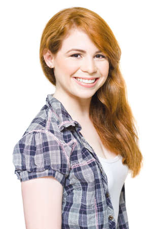 Half Body Photo Of A Lovely And Adorable Young Red Haired Teenage Girl Smiling With A Look Of Delight And Joy With White Teeth Showing, On White Background Stock Photo - 13360817