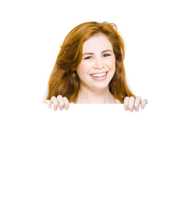 Isolated Portrait Of A Smiling Shopping Lady Holding A White Empty Display Board With In A Happy Retail Savings Concept, On White Background Stock Photo - 13360959