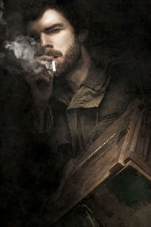 WW2 Ground Infantry Soldier Looking Determined While Smoking On A Cigarette And Carrying A Box Filled With Small Arms Ammunition During The Battle Of His Life Stock Photo - 13360417