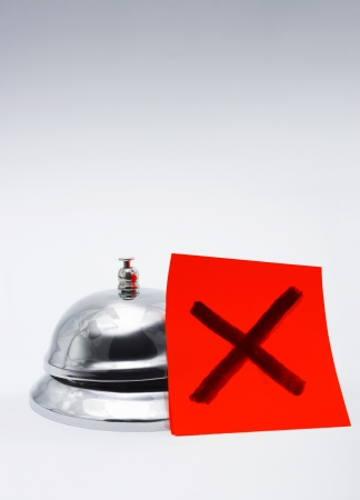 Feedback Of Bad Customer Service Concept With A Big Red Cross Next To A Service Bell, With Copyspace Stock Photo - 14772631
