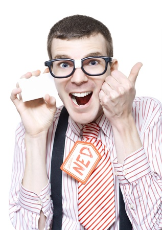 Ned The Sales Man Nerd Giving Thumbs Up For A Discount Deal While Holding Business Card Isolated On White Background photo