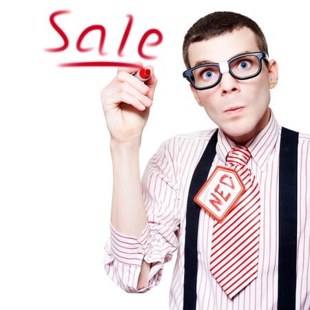 Isolated Funny Nerd Advertising A Store Sale With Red Marker In A Depiction Of Marketing photo