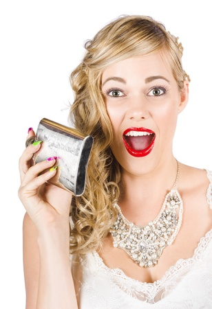 Animated Bride Holding Alcohol Flask In A Depiction Of A Pre Wedding Hens Party On White Background Stock Photo - 15629738