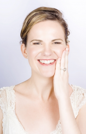 Face Of A Smiling Bride With Perfect Makeup In A Depiction Of Wedding Make-up Stock Photo - 15629700