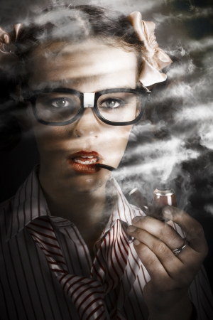 Old Fashioned Portrait Of A Attractive Young Female Business Spy With Smoke Pipe Near Window Blind photo