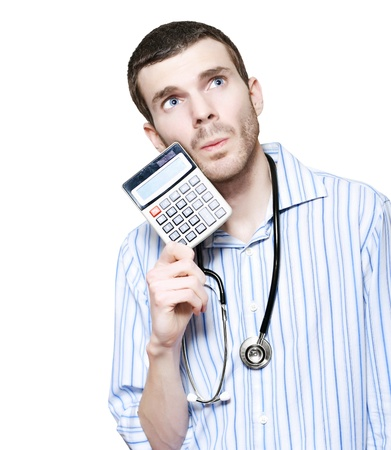 Isolated Male Medical Doctor Counting Financial Cost Of Health While Holding Calculator On White Background Stock Photo - 16008811