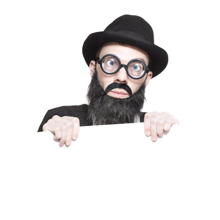 Nutty Male Science Professor In Hat, Fake Beard And Geeky Glasses Holding Education Copyspace Sign Over White Background Stock Photo - 16008797