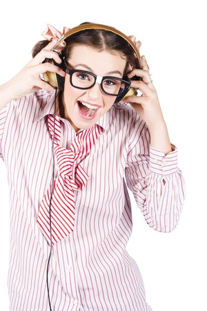 Isolated Happy Smiling Female Business Nerd Singing To Rock Music With Earphones photo