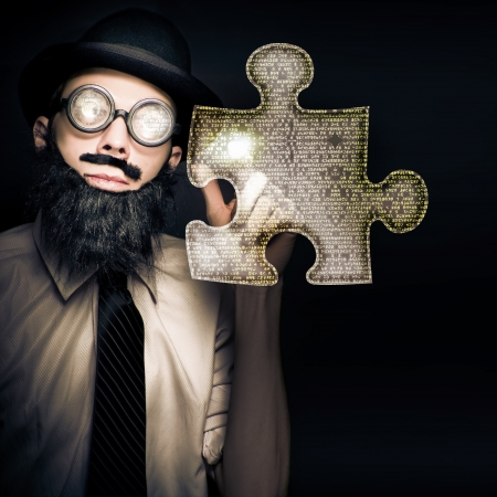 Smart Business Man Puzzle Solving When Pressing A Futuristic Touch Screen Jigsaw Interface In A Digital Answer Concept photo