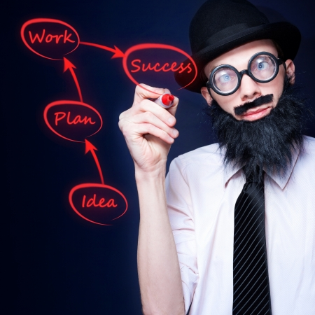 Brainy Businessman Writing Step By Step Plan For Business Success Incorporating Ideas Planning And Workflow Stock Photo - 16244827