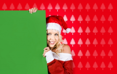 Christmas Sign Woman Showing Empty Blank Paper While Wearing Santa Hat On Christmas Tree Design Background photo
