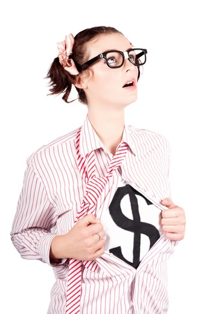 Isolated Young Brave Strong Business Woman Thinking About Financial Growth In A Money Leadership Concept Stock Photo - 16639683