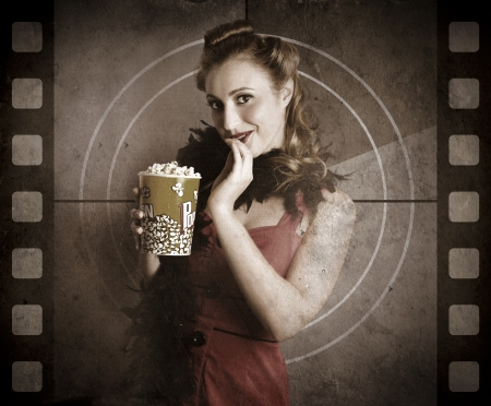 Vintage Woman Eating Popcorn On A Old Cinema Movie Countdown Screen In A Depiction Of A Classic Film photo