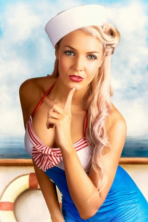 Combined Illustration And Photograph Of A Sexy Navy Sailor Pin Up Girl Thinking On Starboard Side Of A Sailing Boat illustration