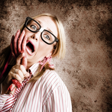 Exhausted And Stressed Woman Going Crazy At Work When Under The Attack Of Frustration photo