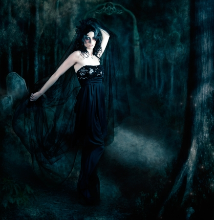 Moody atmospheric portrait of an elegant mysterious woman posing in a black evening gown amongst the shadows of darkness Stock Photo - 17762545