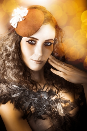 Soft Vintage Photograph Of An Actress Performing In Beautiful Makeup Wearing French Beret Hat On Bokeh Background Stock Photo - 17889099