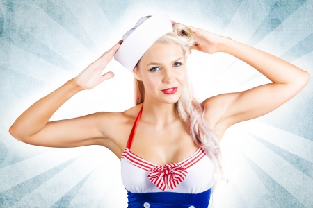 Beautiful Retro American Pin-Up Girl Posing With Hands To Head Wearing Classic Military Issued Navy Fashion Stock Photo - 17889005