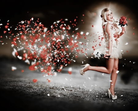 Beautiful Romantic Blond Woman Running With All Heart In The Race Of Love  photo