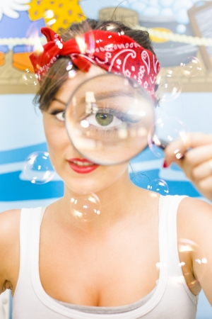 Soap Bubbles Fly As The Cleaning Lady Detective Enter The Home Spying With One Big Eye Looking For Dirt While Making Sure Everything In Sparkling Clean Stock Photo - 18253638