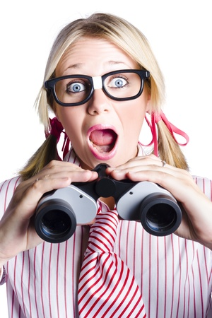Shocked Nerdy Business Person Looking To The Future With Binoculars In A Research And Development Concept On White Background photo