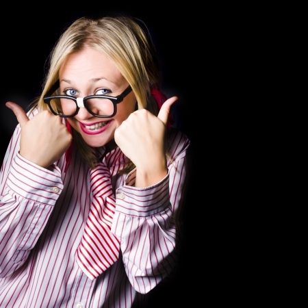 Female administration assistant giving a good to go thumbs up of approval on copyspace black Stock Photo - 18574435
